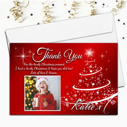 10 Personalised Christmas Xmas Thank you PHOTO Cards N15